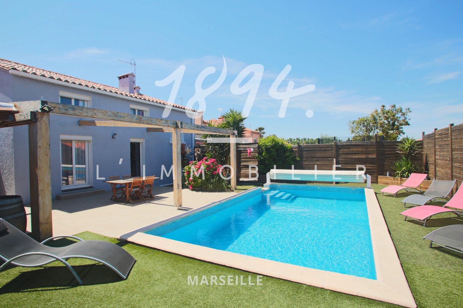 Maison R+2 avec piscine chauffée et annexe dans jardin arboré et cloturé