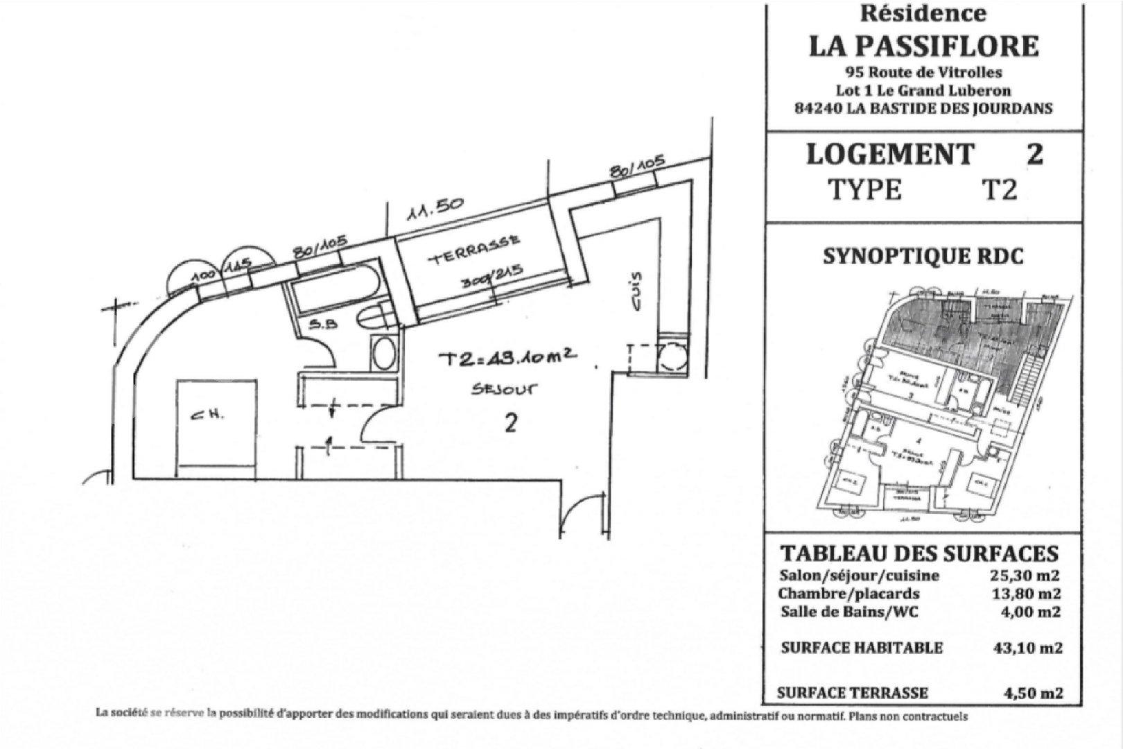 Appartement de type 2 43m² avec terrasse