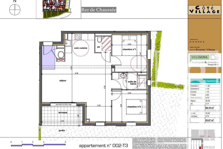 Rognes programme neuf T3 d'environ 66m2 avec terrasse + deux places de parking