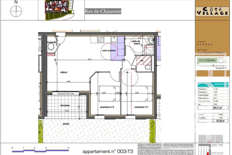 Rognes programme neuf T3 d'environ 56m2 avec terrasse + place de parking en sous-sol