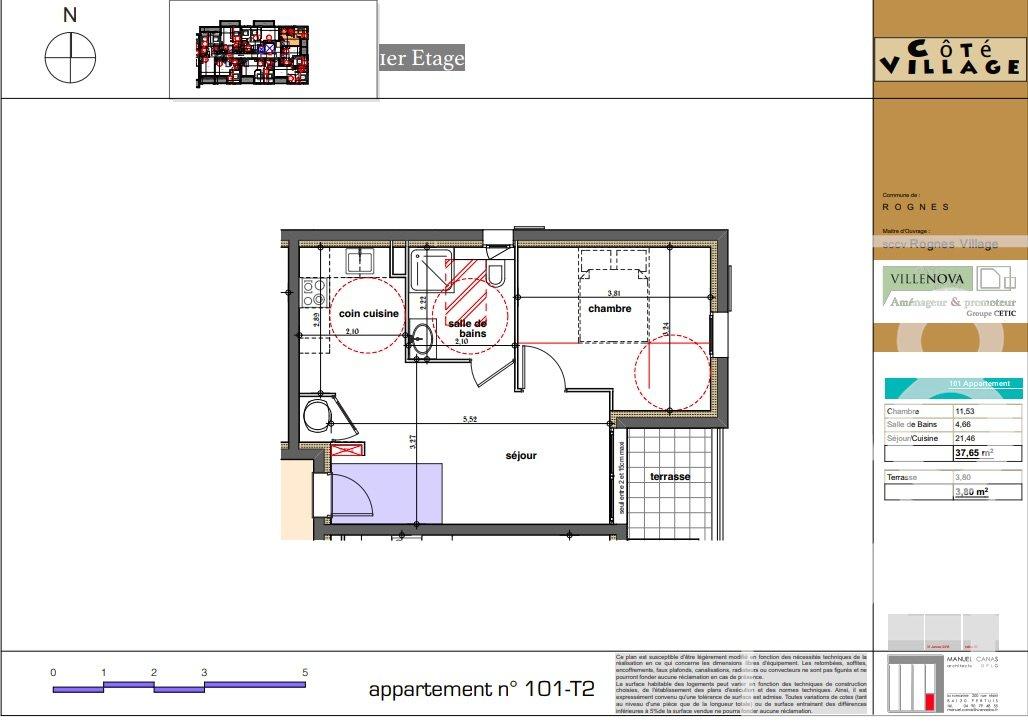 Rognes programme neuf T2 37m2 avec terrasse + place de parking