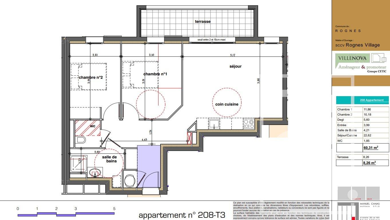 Rognes programme neuf T3 d'environ 60m2 avec une terrasse + 2 places de parking